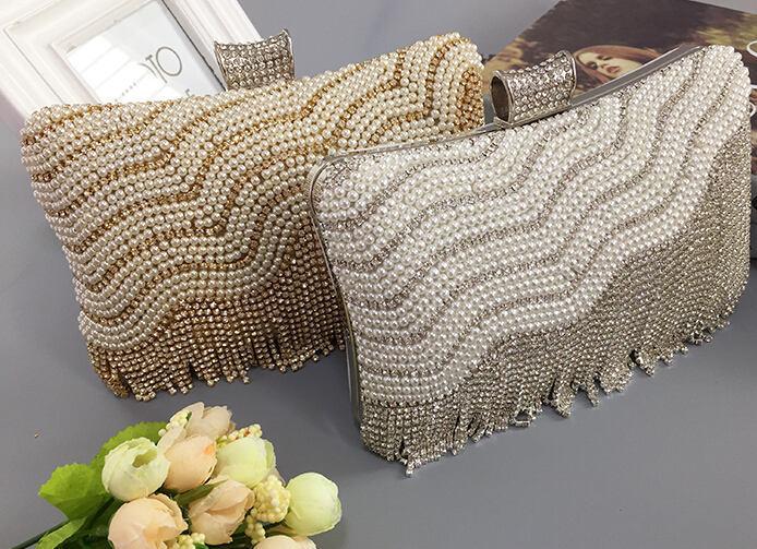 2015 new fashion women clutch bags tassel clutch bag for ladies banquet wedding bag pearl mixed diamond clutch 801N<br><br>Aliexpress
