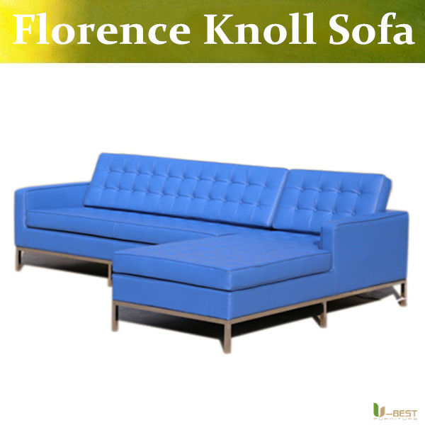 U-BEST The Florence Knoll Style Designer Corner Sofa replica,Cashmere fabric,PU or full leather and stainless steelbase(China (Mainland))