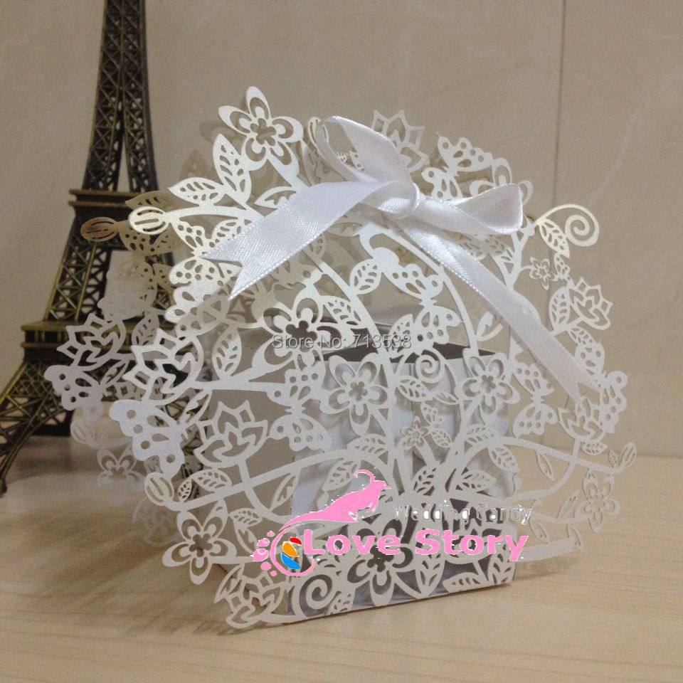 50pcs Laser cut flower tree wedding favor box,in pearl color gift box,flower wedding,wedding favors and gifts,party decoration(China (Mainland))