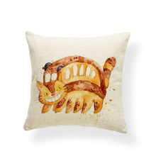 Totoro Miyazaki Umbrella Cushion Cover Anime Castle Pillow Case Firefly Abstract Hotel Nap Mat Throw Pillows 45X45Cm Burlap Soft(China)