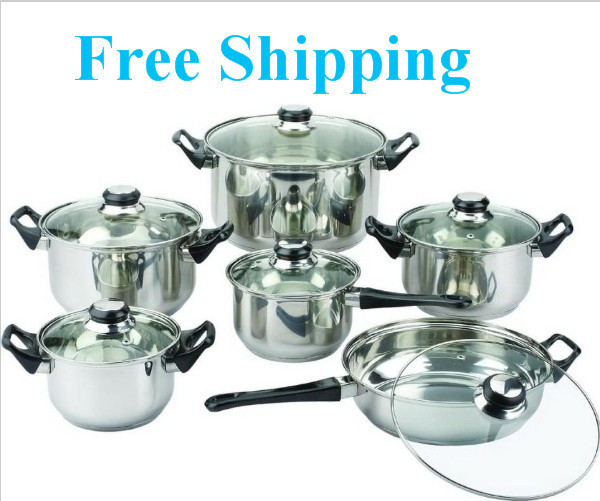 FREE SHIPPING 12 Pieces of Stainless Steel Cookware Set Soup Pot Milk Pot Fry Pan Combination Set Induction Apply(China (Mainland))