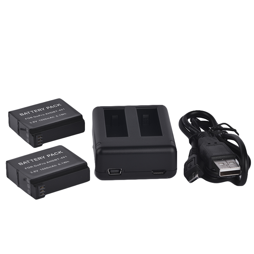 2pcs 1600mAh AHDBT 401 Gopro hero 4 battery and Dual port Home Charger for Gopro hero4