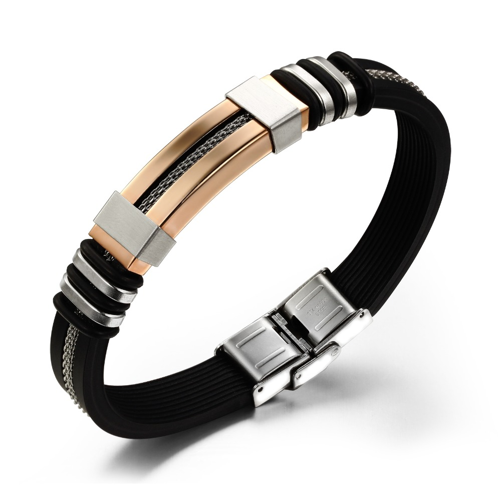 New Silicone Rubber Gold/Silver/Black Rope Hollow Strip Grain Titanium Steel Bracelet Bangles Men Fashion Jewelry Hot Sale PH793(China (Mainland))