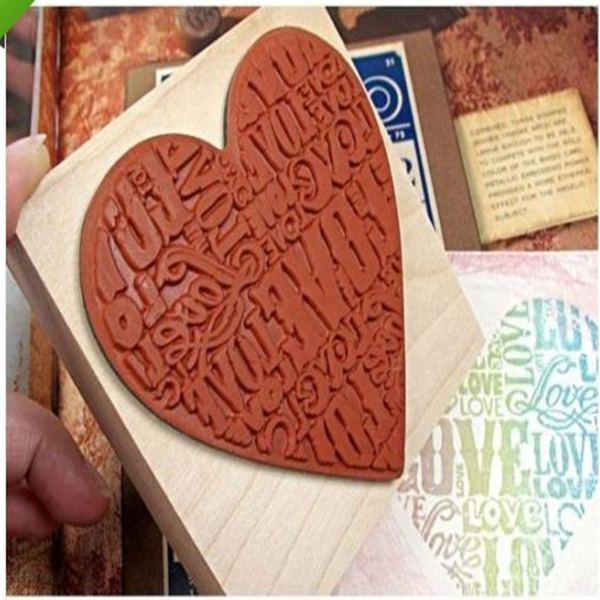 Новая форма сердца блоки деревянный жаждал тампографии печать дерево DIY мода ремесленной школы скрапбукинг декор