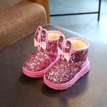 חורף 2019 ילדי מגפי בנות פאייטים כותנה תינוק חם נעלי תלמיד ילדה שלג מגפי כותנה נסיכת מגפי ילדים סניקרס(China)