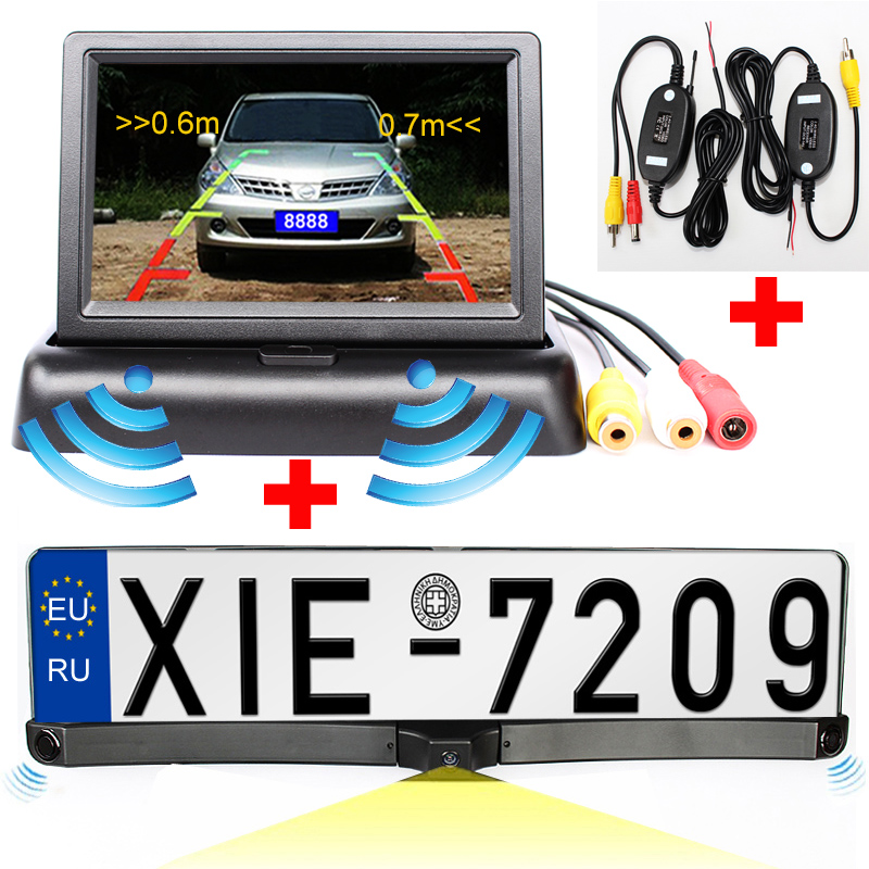 store product Car Parking Monitor HD CCD European Russia License Plate Frame Rear View Camera With  Radar