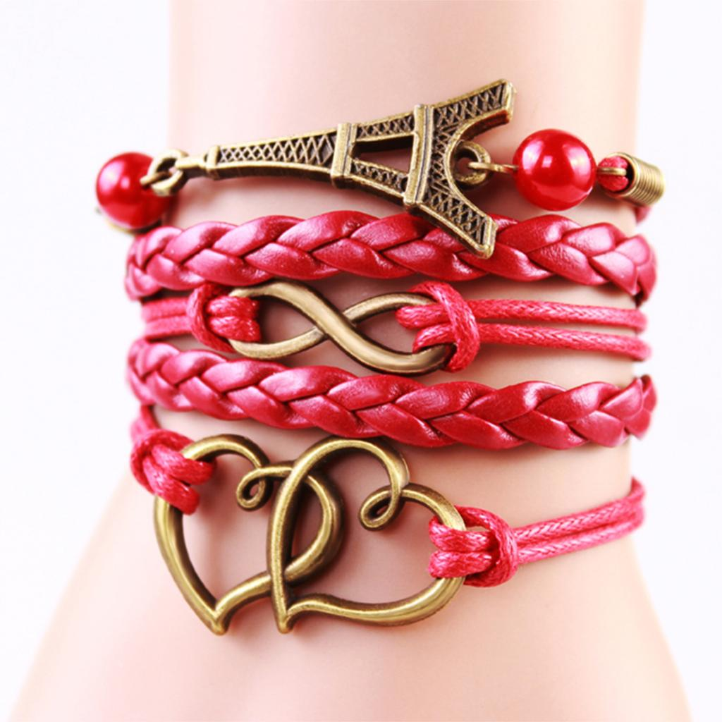 2014 New Handmade Heart Eiffel Tower Charms infinity Bracelet Red Color Woven Leather Bracelet Fashion For Women(China (Mainland))