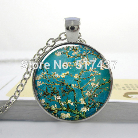 Van Gogh Almond Branch in Bloom art pendant, bridal jewelry,Van Gogh pendant, plum blossom ,Glass Dome Pendant(China (Mainland))