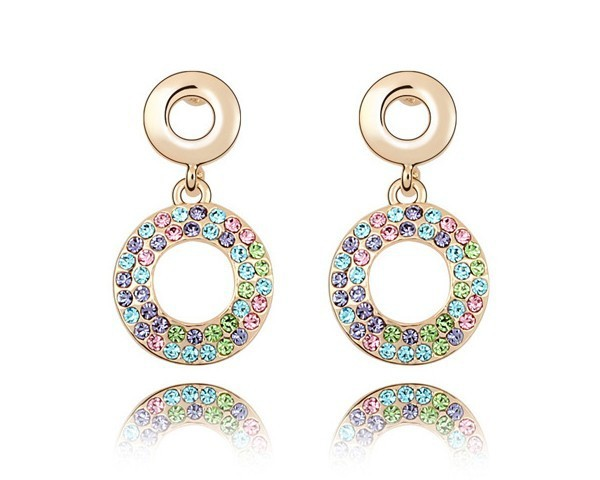 Austrian Multicolored Crystal Stud Earrings Wholesale Cheap Jewelry Gold Plated Circle Earrings Girls Kids Lady Earrings EEH0079