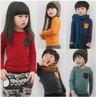 2013 new korea version Long sleeve fall private candy colors upper garment T-shirt, ,suit 2-10 years children - Baby Corner Store store