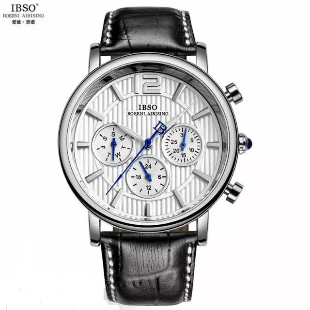 IBSO Mens Watches Top Brand luxury High Quality Clock Analog  Quartz Genuine Leather Military sports Wristwatch <br><br>Aliexpress