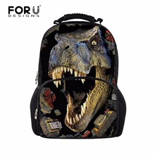 Fashion 3D Children School Bag Animal Horse Dinosaur Printing Men's Travel Backbag Crazy Horse School Bags for Teenager Boys(China (Mainland))