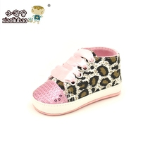 2016 Girls Baby Shoes baby Cack Leopard first walker kids prewalker shoes girls bowtie toddler shoes Paillette Lace-up CuteKids(China (Mainland))