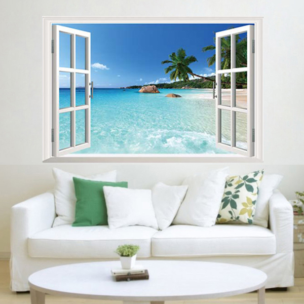 Http Www Aliexpress Com Item Large Beach Sea View 3d Wall Stickers Decoration Living Room Vinyl Art Decal Waterproof Scenery Window 32486472427 Html