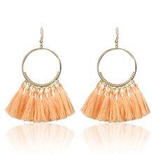E0101 Bohemian Handmade Statement Tassel Earrings For Women Vintage Round Drop Ethic Earrings Wedding Bridal Fringed Jewelry(China)