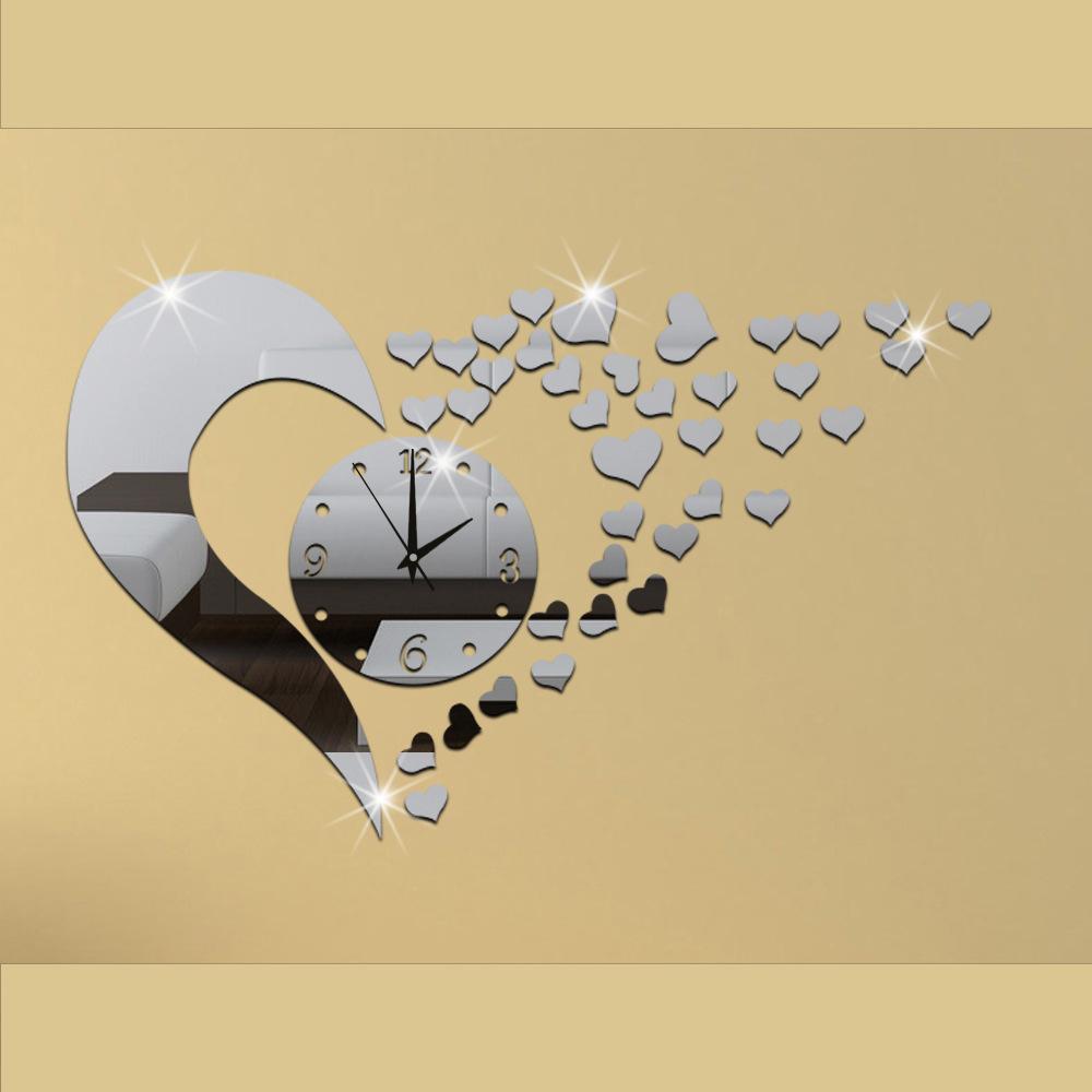 Diy acrylic mirror mute clock creative acrylic love wall for 3d acrylic mirror wall sticker clock decoration decor