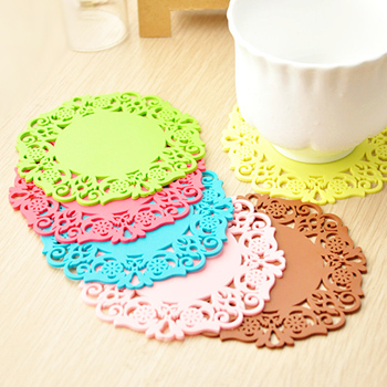 Home fashion cutout silica gel coaster multicolour slip-resistant heat pad lace coasters bowl pad(China (Mainland))