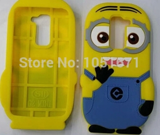 Case 3D Minions Soft Rubber Cell Phone Cases Cover For LG Optimus G2 Mini D618 D620 free shipping with tracking number(China (Mainland))