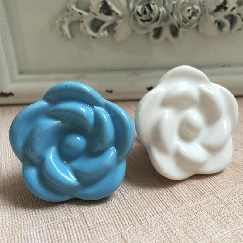 38mm blue white rose ceramic cupboard door knobs children for Children s bureau knobs