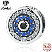 Buy 100% 925 Sterling Silver Blue Crystals Eyes Round Bead Charms Fit Pandora Bead Charm Bracelets & Bangles Jewelry ECC092 for $4.99 in AliExpress store