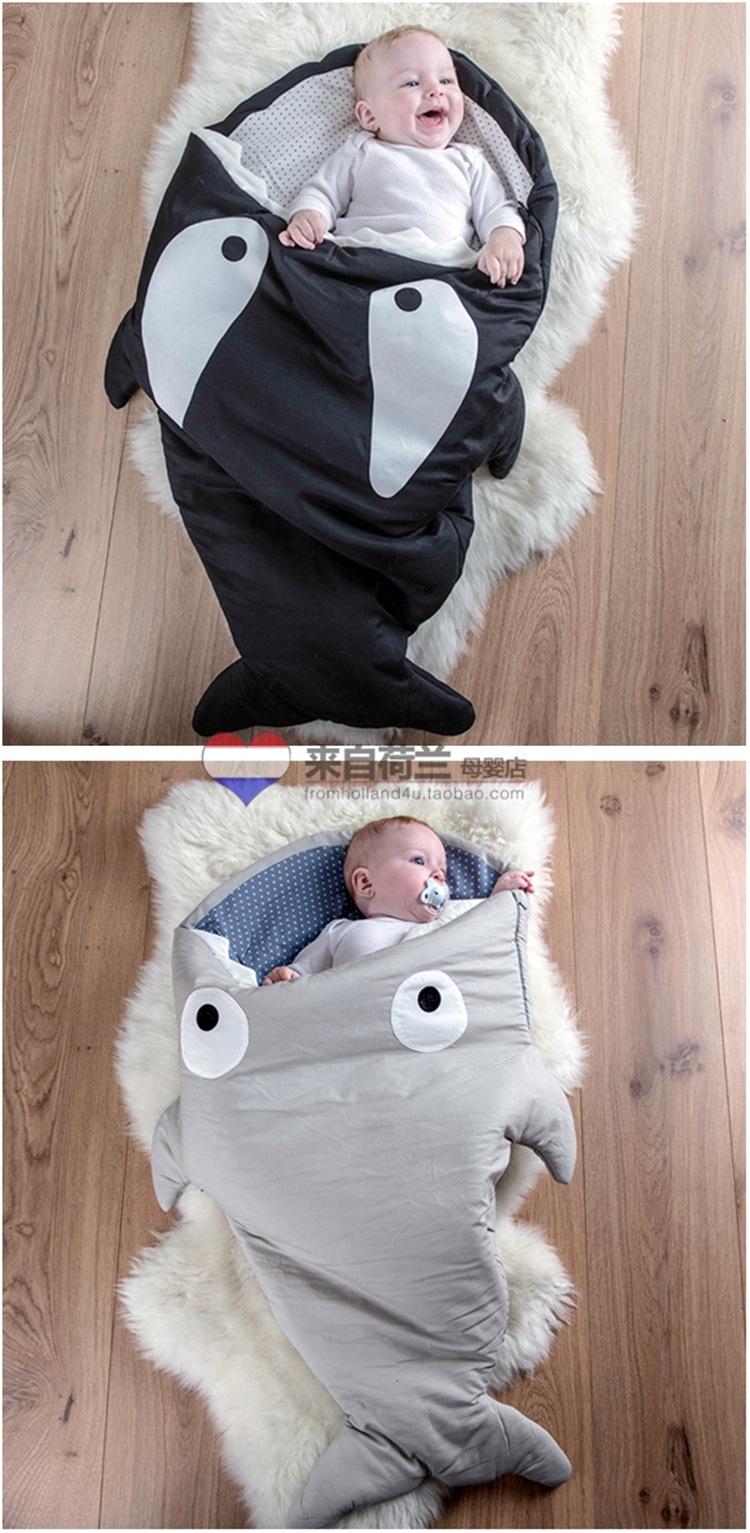 Скидки на 2016 новый горячий продажа акула спальный мешок толстый хлопок супер согреться акула спальный мешок анти ногами одеяло младенца slaapzak