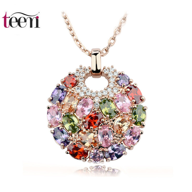 Teemi 2015 Newest Arrival Luxury 18K Rose Gold Plated Multicolor Cubic Zirconia Big Round Necklace Pendants for Women Fashion(China (Mainland))