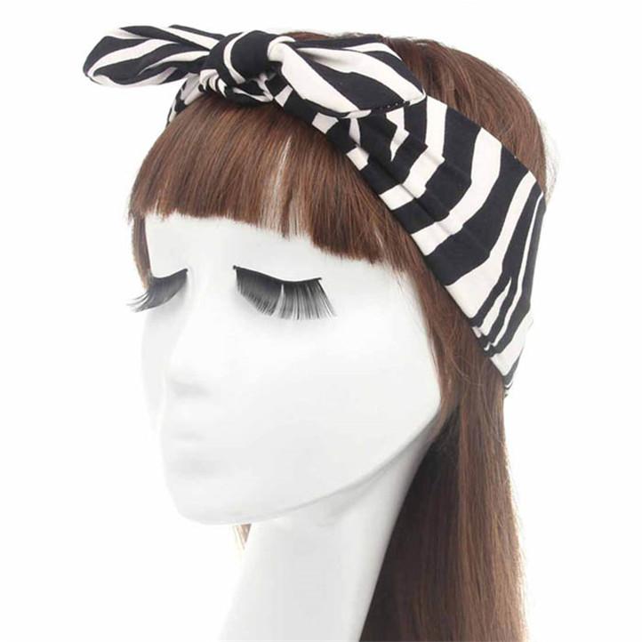 Newly Design New Lovely Women Cotton Headband Leopard Zebra Knot Hair Band Rabbit Ear Headscarf May11(China (Mainland))