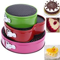 3pcs/набор из трех springform лотки металлические торт испечь плесень плесень посуда с съемной нижней раунд формы хлебопекарные инструменты