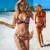 2016 Sexy Vintage Swimwear Thong Swimsuit Retro Halter Red Bikini Set Brazilian Print Summer Beach Suit Plavky bikiny 1521