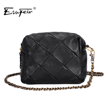 Genuine Leather Patchwork Women Messenger Bag Sheepskin Leather Chain Shoulder Bag Women Crossbody Small Bag bolsas Ladies Bag(China (Mainland))
