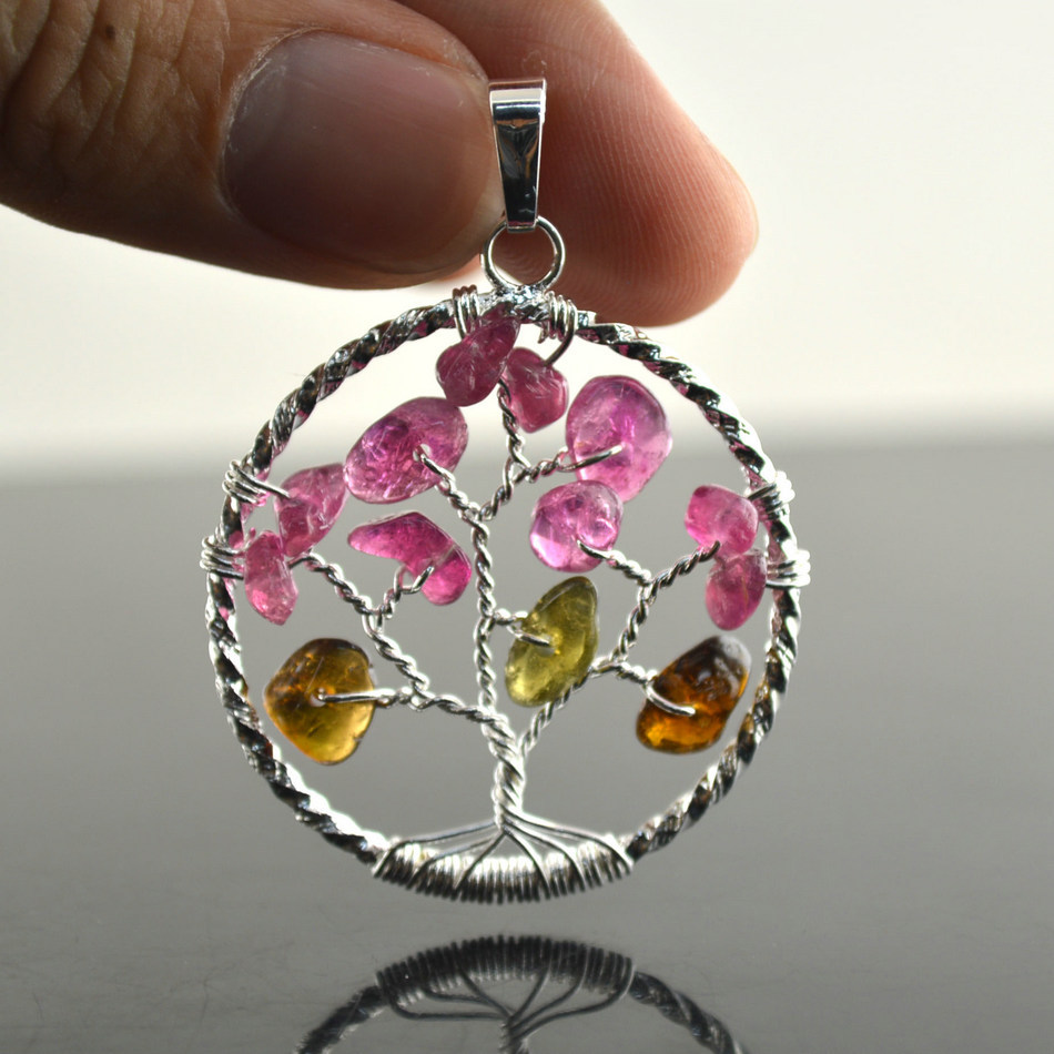 5pcs Natural Tourmaline Gravel Beads Tree Shape Wire Wrapped Women Pendant Silver &amp; Gold Jewelry   <br><br>Aliexpress