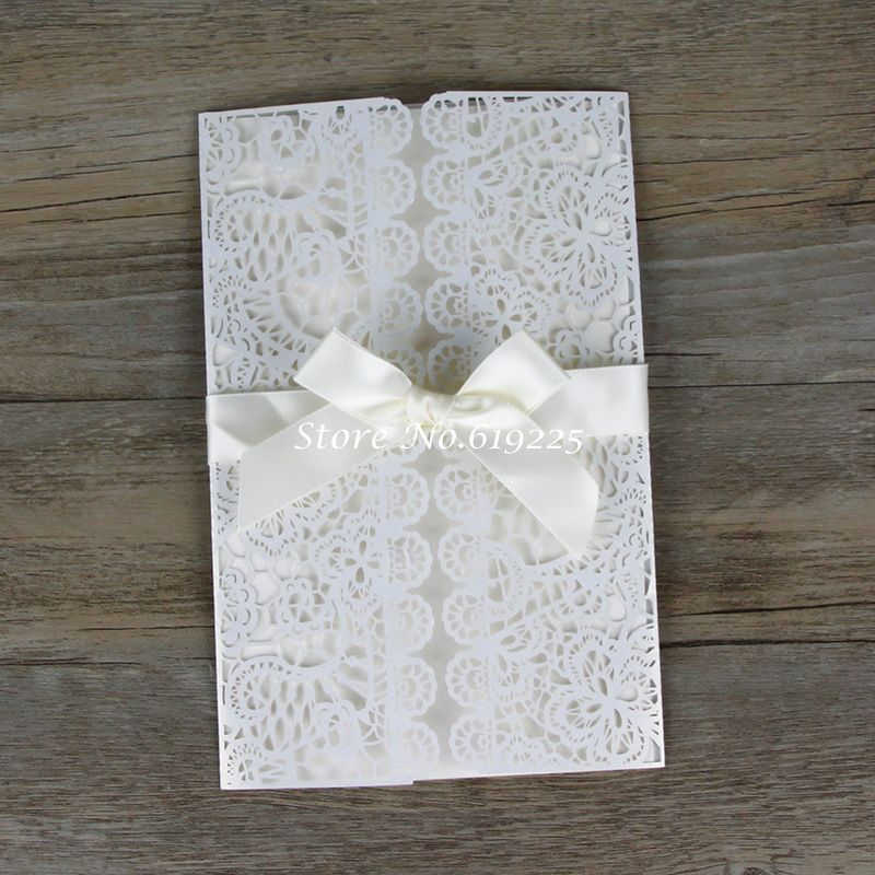 Aliexpress Buy Wedding Invitation Cards Elegant White Laser Cut Out Paper Lace Wedding