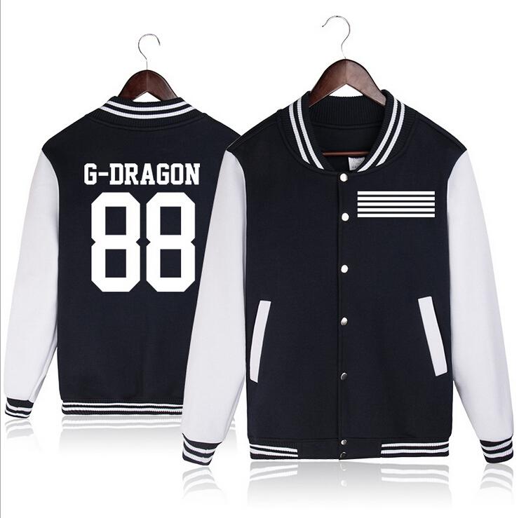 Bigbang Baseball Jacket Big Bang Kpop Album Hoodies TOP Fashion Womens Long-sleeved Coat K-pop Clothes G-dragon - Star Model Clothing Store store