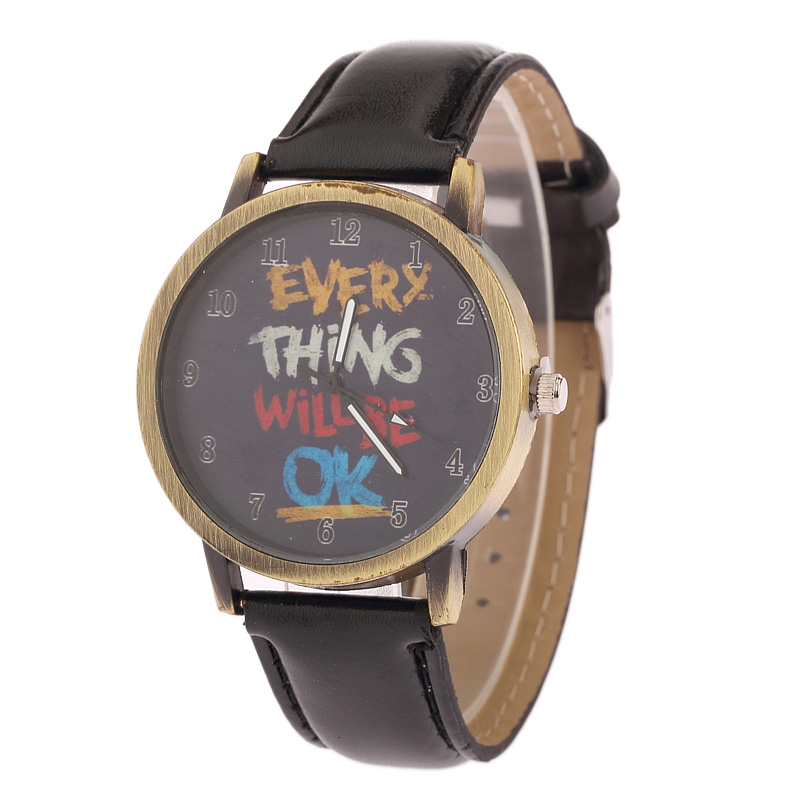 new Fashion Parkour Leisure Graffiti ok Watches Women Men Leather Watch Quartz Relojes Mujer Relogio Feminino Gift free Shipping