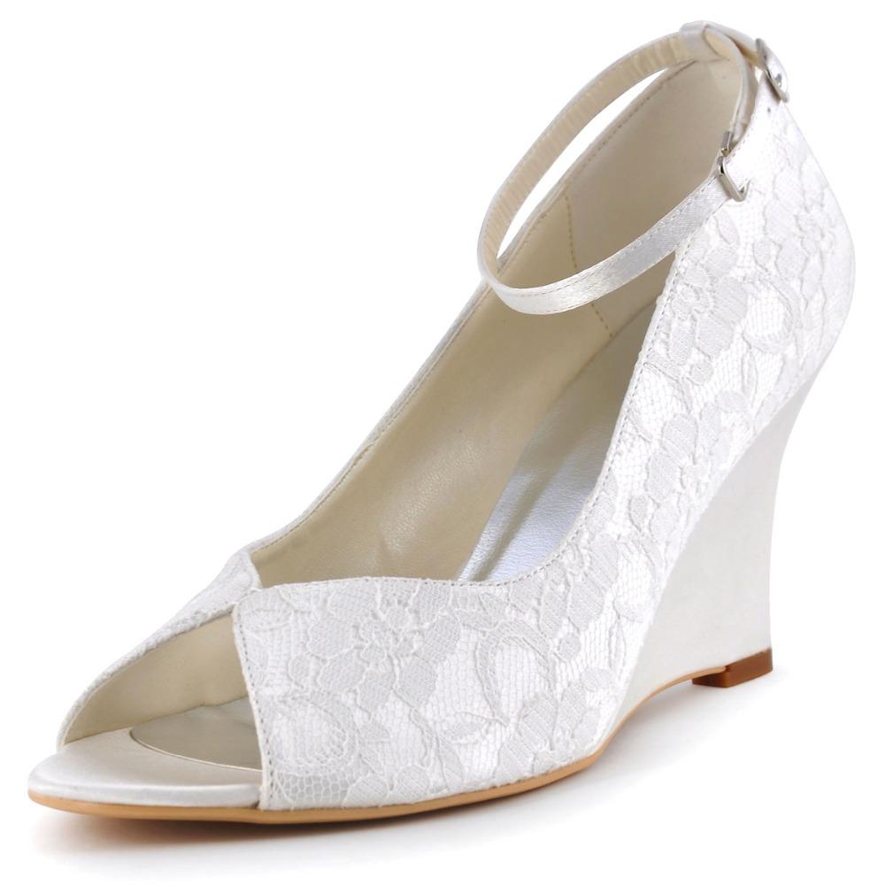 Silver Wedge Heel Wedding Shoes