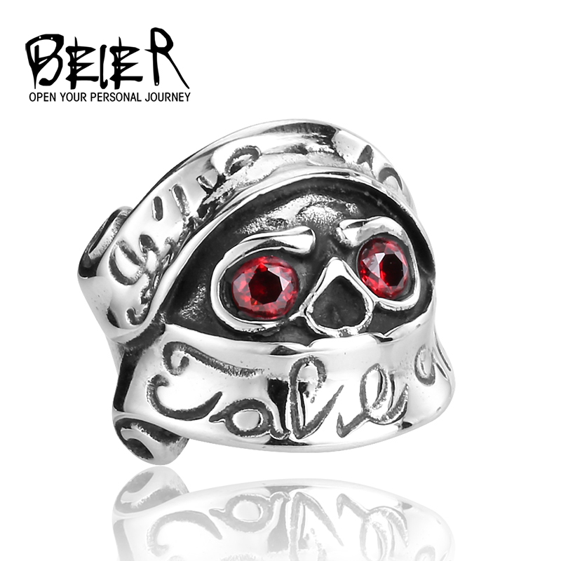 Super Cool Gothic Punk Red CZ Eyes Skull Ring Stainless Steel Jewellery  Germany France Brazil USA  BR8-048(China (Mainland))