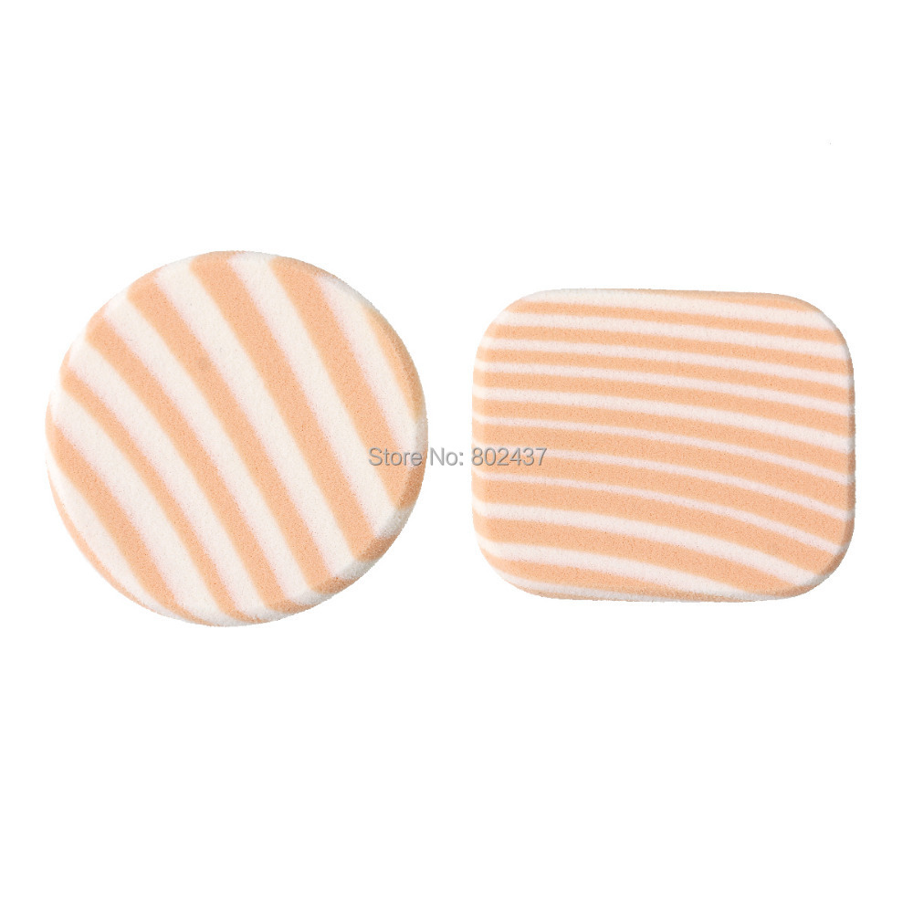 Make Up Tools Powder Puff Beauty Flawless Facial Makeup Blender Foundations Round Peachy Beige Zebra Stripe 5.5x4.5cm, 2 Sets(China (Mainland))