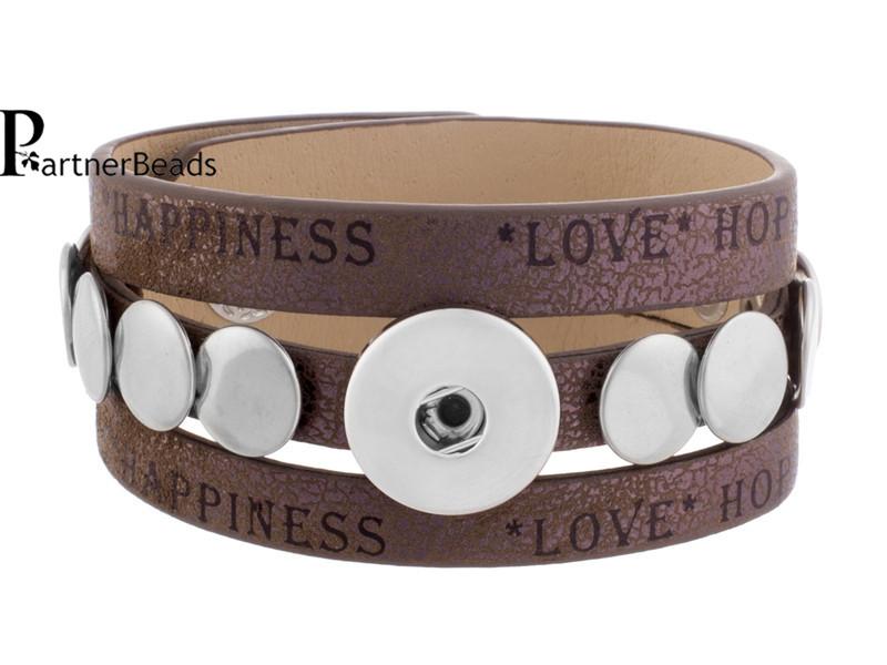 DIY Interchangealbe Brown PU Snap Button Leather Bracelets Snaps Jewelry Charm Fit Ginger Bracelet KB0835 - Yiwu Partnerbeads Co.,Ltd. store