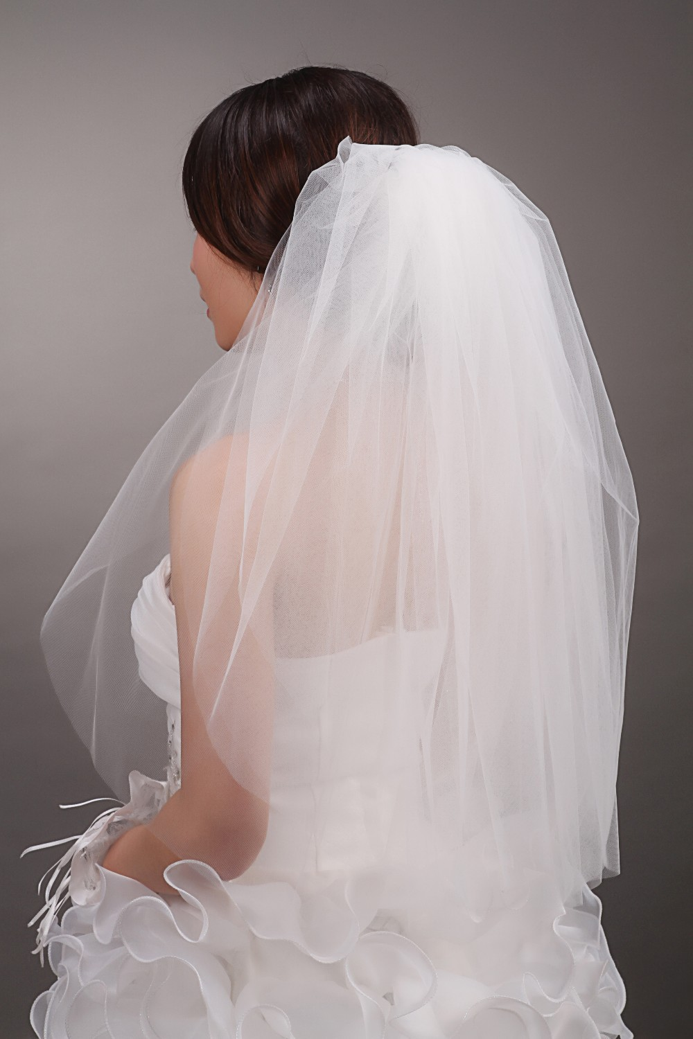 Cheap Short Wedding Veils White/Ivory Two Layer Tulle Bridal Accessories - Weddings & Events Collection store