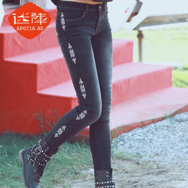 Aporia.As Original Design Spring Autumn Women Vintage Skinny Black Jeans Embroidery Slim Retro Finishing Pencil Denim PantsОдежда и ак�е��уары<br><br><br>Aliexpress