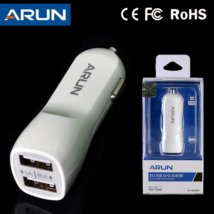 High Quality ARUN 5V 1A 2A Dual USB Ports Car Charger for Phone and Pad Double USB Port Adapter With Retail Packing