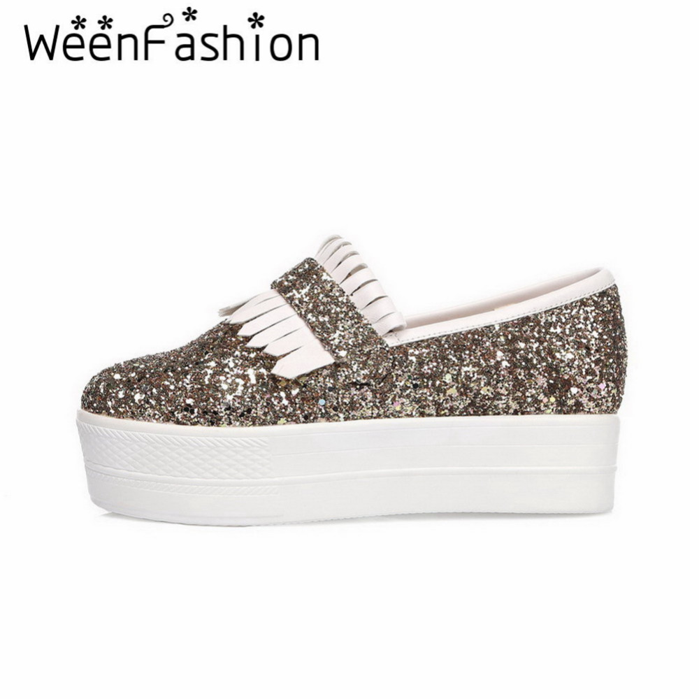 Фотография WeenFashion Casual Women Round Toe Platform Girl Shallow Mouth Slip-On Flat Bottom Shoes Tassel Sequined Paillette Decoration