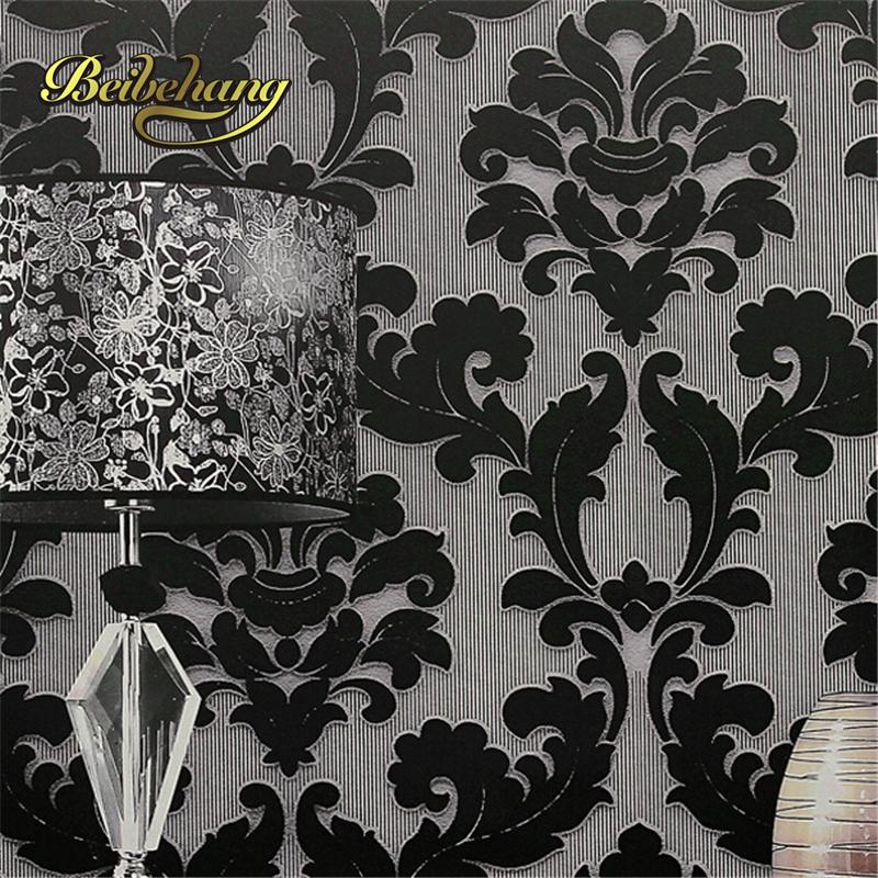 Decor Black Wall Paper : Popular velvet wallpaper buy cheap lots
