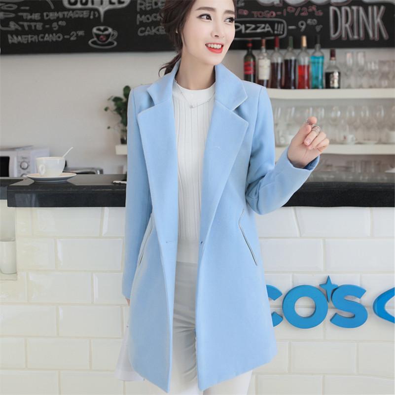 Women'S Light Blue Wool Coat - JacketIn