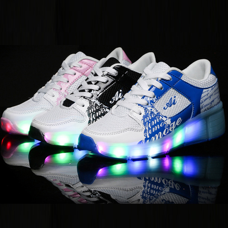 Children Shoe Sneakers Wheels Light Kids Girl Shoes Automatic One Wheel LED Lights Flash Roller - Aurelia Online Co.Ltd. store
