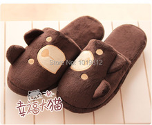 Cute teddy bear plush household floor lovers warm autumn winter slippers Men and women home slippers(China (Mainland))