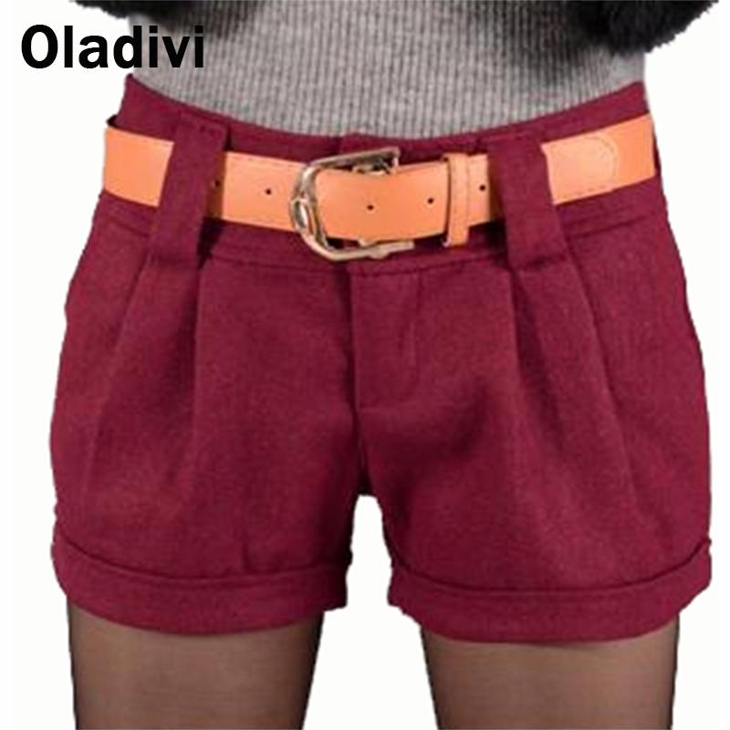 2016 New Autumn Winter Fashion Women Woollen Shorts Female Short Pants Ladies Boot Cut Trousers Black Grey Blue Wine Red XL - Oladivi official store