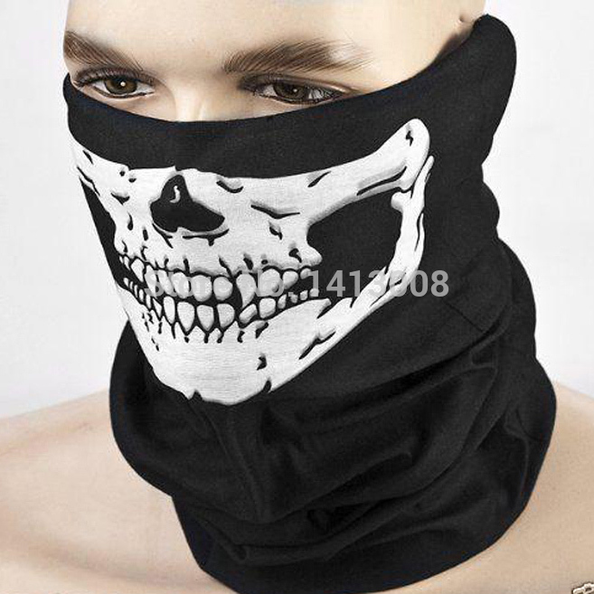 2015 NEW CS Cosplay Ghost Skull Black Face Mask Cap Motorcycle Biker Multi functional Skeleton Hat Scarf Balaclava(China (Mainland))