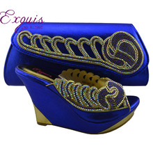 The most popular Nigerian African shoes and bags matching for wedding dress!free shipping by DHL . royal blue 1308-L57(China (Mainland))