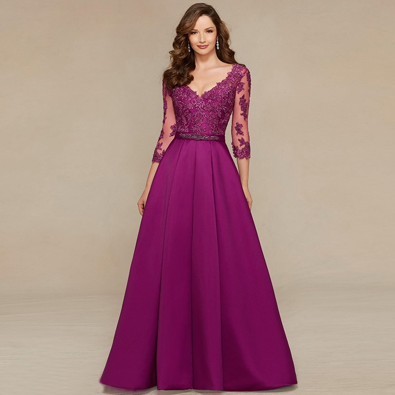 2016 New Sexy Long Evening Dress V-neck 3/4 Sleeves Prom Gown A-line Lace Appliques Long Party Dress Satin Formal Dress Custom(China (Mainland))